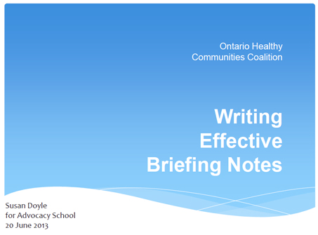 Hc Link: Preparing Effective Briefing Notes | Advocacy School